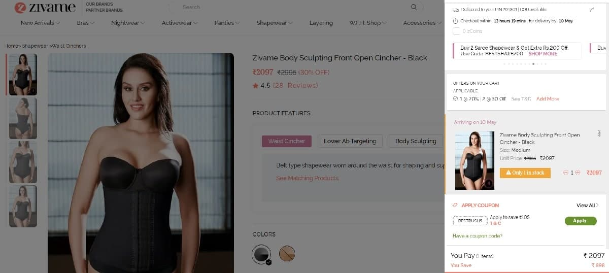 how to use zivame coupon code